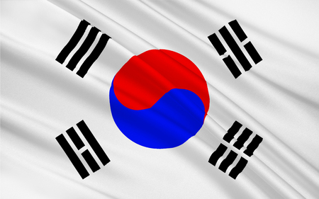 constituting: Flag of South Korea officially the Republic of Korea is a sovereign state in East Asia, constituting the southern part of the Korean Peninsula. 3D illustration