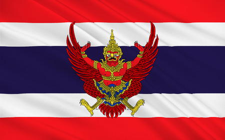 the mainland: Flag of Thailand officially the Kingdom of Thailand formerly known as Siam, is a country at the centre of the Indochinese peninsula in Mainland Southeast Asia. 3D illustration Stock Photo