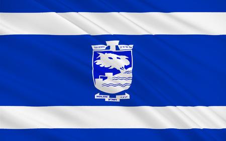 Flag of Holon is a city on the central coastal strip south of Tel Aviv, Israel. 3d illustration