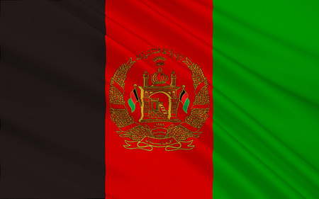 Flag of Afghanistan officially the Islamic Republic of Afghanistan, is a landlocked country located within South Asia and Central Asia. 3D illustration