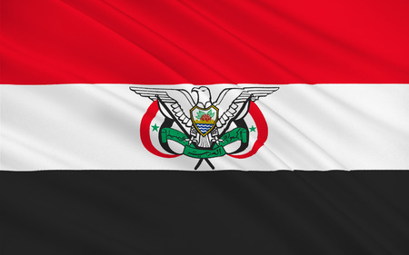 known: Flag of Yemen Arab Republic also known as North Yemen. Its capital was at Sanaa. 3D illustration