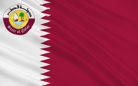 southwest asia: Flag of Qatar officially the State of Qatar is a sovereign country located in Southwest Asia, occupying the small Qatar Peninsula on the northeastern coast of the Arabian Peninsula. 3d illustration