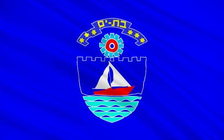 yam israel: Flag of Bat Yam is a city located on Israels Mediterranean Sea coast, on the central coastal strip, just south of Tel Aviv. 3d illustration