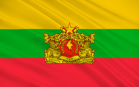 burmese: Flag of Myanmar officially the Republic of the Union of Myanmar and also known as Burma, is a sovereign state in Southeast Asia. 3D illustration