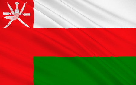 peninsula: Flag of Oman officially the Sultanate of Oman is an Arab country in the southeastern coast of the Arabian Peninsula. 3d illustration