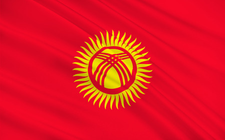 kyrgyz republic: Flag of Kyrgyzstan officially the Kyrgyz Republic formerly known as Kirghizia, is a landlocked country located in Central Asia. 3d illustration Stock Photo