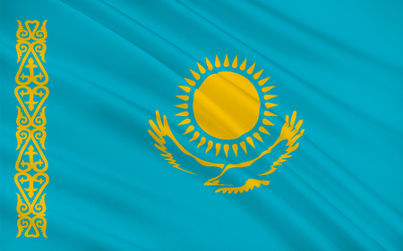soviet flag: Flag of Kazakhstan officially the Republic of Kazakhstan, is a country in northern Central Asia. 3D illustration Stock Photo