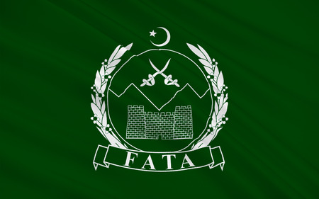 federally: Flag of  Federally Administered Tribal Areas is a semi-autonomous tribal region in northwestern Pakistan. 3D illustration Stock Photo