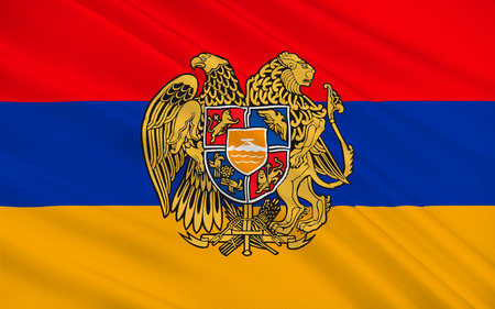 Flag of Armenia officially the Republic of Armenia is a sovereign state in the South Caucasus region of Eurasia. Located in Western Asia. 3d illustration