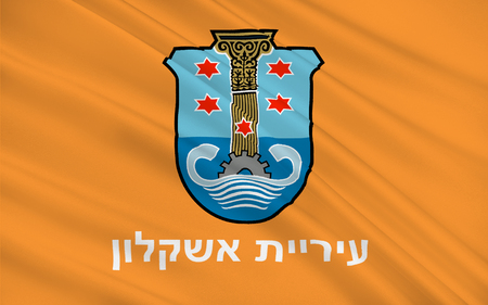coastal: Flag of Ashkelon is a coastal city in the Southern District of Israel. 3d illustration
