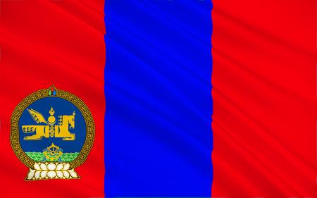 landlocked: Flag of Mongolia is a landlocked sovereign state in East Asia. 3d illustration Stock Photo
