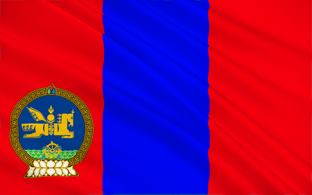 Flag of Mongolia is a landlocked sovereign state in East Asia. 3d illustration Stock Photo