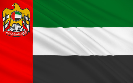 peninsula: Flag of United Arab Emirates sometimes simply called the Emirates or the UAE, is a country located at the southeast end of the Arabian Peninsula on the Persian Gulf. 3D illustration Stock Photo