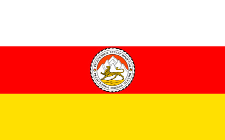 Flag of South Ossetia or Tskhinvali Region is a partially recognised state in the South Caucasus, located in the territory of the South Ossetian Autonomous Oblast. Stock Photo