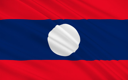peninsula: Flag of Laos officially the Lao Peoples Democratic Republic (LPDR) is a landlocked country in the heart of the Indochinese peninsula of Mainland Southeast Asia. 3d illustration Stock Photo