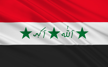 western asia: Flag of Iraq officially the Republic of Iraq is a country in Western Asia. 3D illustration Stock Photo