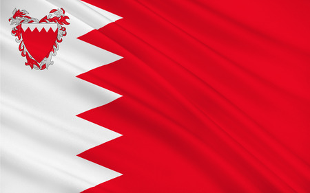 gulf: Flag of Bahrain officially the Kingdom of Bahrain is an island country situated near the western shores of the Persian Gulf in the Middle East. 3d illustration