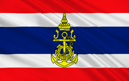 peninsula: Flag of Thailand officially the Kingdom of Thailand formerly known as Siam, is a country at the centre of the Indochinese peninsula in Mainland Southeast Asia. 3D illustration Stock Photo