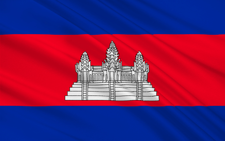indochina peninsula: Flag of Cambodia officially known as the Kingdom of Cambodia and once known as the Khmer Empire, is a country located in the southern portion of the Indochina Peninsula in Southeast Asia. 3D illustration