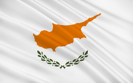 mediterranean: Flag of Cyprus officially the Republic of Cyprus  is island country in the Eastern Mediterranean Sea, off the coasts of Syria and Turkey. 3d illustration Stock Photo