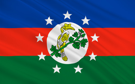 burmese: Flag of Chin State is a state in western Myanmar. 3D illustration