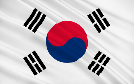 peninsula: Flag of South Korea officially the Republic of Korea is a sovereign state in East Asia, constituting the southern part of the Korean Peninsula. 3D illustration