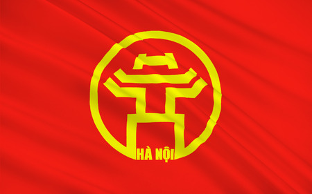 indochina peninsula: Flag of Hanoi is the capital of Vietnam and the country second largest city. 3D illustration