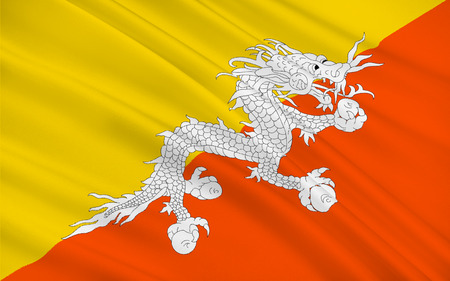 bhutan: Flag of Bhutan officially the Kingdom of Bhutan, is a sovereign state in South Asia. 3d illustration