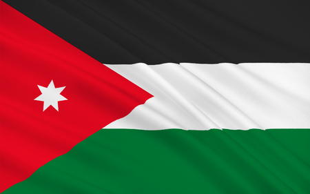 east river: Flag of Jordan officially the Hashemite Kingdom of Jordan is an Arab kingdom in Western Asia, on the East Bank of the Jordan River. 3d illustration Stock Photo