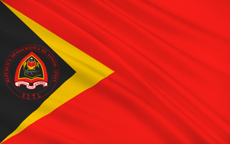 southeast: Flag of East Timor or Timor-Leste officially the Democratic Republic of Timor-Leste is a sovereign state in Maritime Southeast Asia. 3d illustration Stock Photo