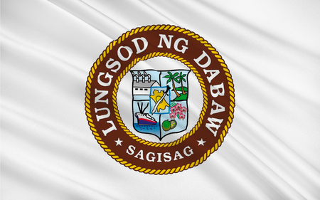 urbanized: Flag of Davao City is a highly urbanized city on Mindanao, Philippines. 3D illustration