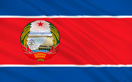 east asia: Flag of North Korea officially the Democratic Peoples Republic of Korea is a country in East Asia, in the northern part of the Korean Peninsula. 3D illustration Stock Photo