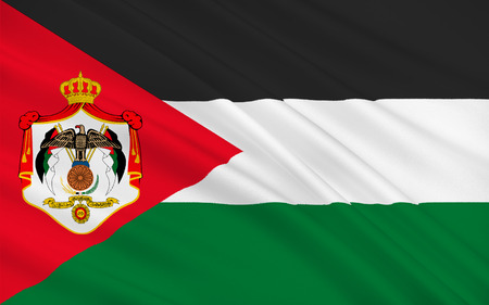 western asia: Flag of Jordan officially the Hashemite Kingdom of Jordan is an Arab kingdom in Western Asia, on the East Bank of the Jordan River. 3d illustration Stock Photo