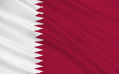 peninsula: Flag of Qatar officially the State of Qatar is a sovereign country located in Southwest Asia, occupying the small Qatar Peninsula on the northeastern coast of the Arabian Peninsula. 3d illustration