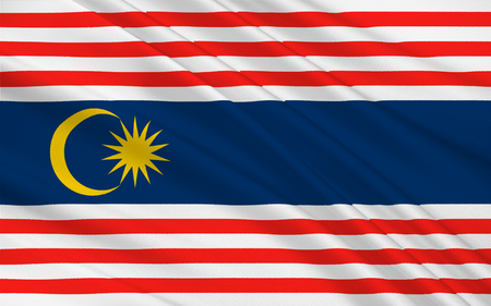 span: Flag of Kuala Lumpur is the national capital and most populous global city in Malaysia. 3D illustration