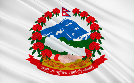 Flag of Nepal officially the Federal Democratic Republic of Nepal is a federal republic and landlocked country in South Asia. 3D illustration Stock Photo