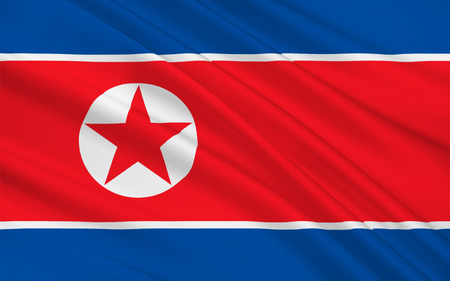 Flag of North Korea officially the Democratic Peoples Republic of Korea is a country in East Asia, in the northern part of the Korean Peninsula. 3D illustration Stock Photo