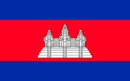 Flag of Cambodia officially known as the Kingdom of Cambodia and once known as the Khmer Empire, is a country located in the southern portion of the Indochina Peninsula in Southeast Asia.