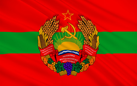 mostly: Flag of Transnistria is a partially recognized state located mostly on a strip of land between the River Dniester and the eastern Moldovan. 3d illustration Stock Photo
