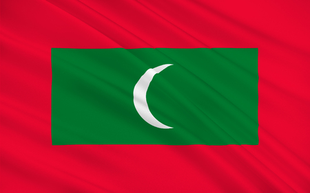 symbolize: Flag of Maldives officially the Republic of Maldives is an island country and archipelago in the Indian Ocean. 3d illustration