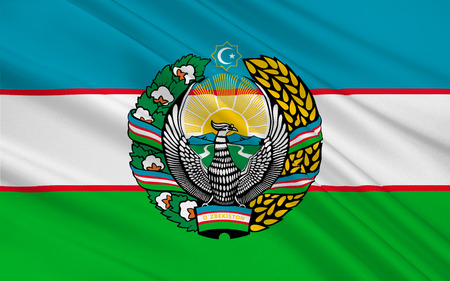landlocked country: Flag of Uzbekistan officially the Republic of Uzbekistan is a doubly landlocked country in Central Asia. 3D illustration Stock Photo