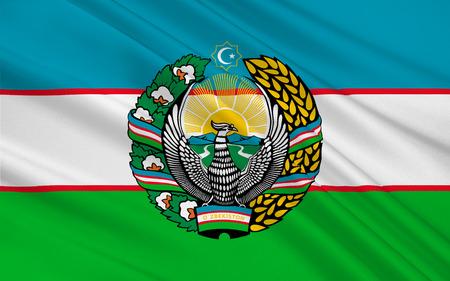 landlocked: Flag of Uzbekistan officially the Republic of Uzbekistan is a doubly landlocked country in Central Asia. 3D illustration Stock Photo