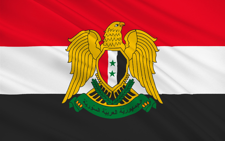 assad: Flag of Syria officially the Syrian Arab Republic, is a country in Western Asia. 3D illustration