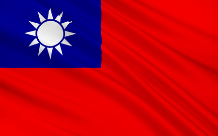 east asia: Flag of Taiwan officially the Republic of China is a state in East Asia. 3d illustration Stock Photo