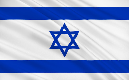 aviv: Flag of Israel officially the State of Israel is a country in the Middle East, on the southeastern shore of the Mediterranean Sea and the northern shore of the Red Sea. 3D illustration