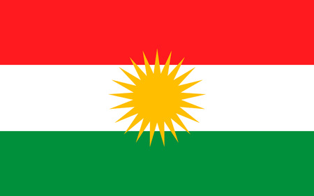 Flag of Kurdistan - ethno-geographical area in the Near East, within which Kurds constitute an absolute or relative majority of the population.
