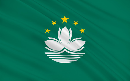 known: Flag of Macau also spelled Macao, officially known as the Macau Special Administrative Region of the Peoples Republic of China. 3d illustration