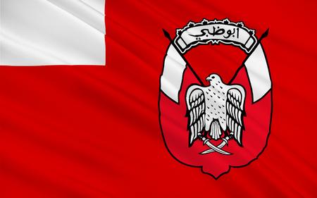 Flag of Emirate of Abu Dhabi is one of seven emirates that constitute the United Arab Emirates (UAE). 3D illustration Stock Photo