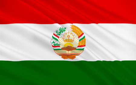 landlocked country: Flag of Tajikistan officially the Republic of Tajikistan is a mountainous, landlocked country in Central Asia. 3d illustration Stock Photo