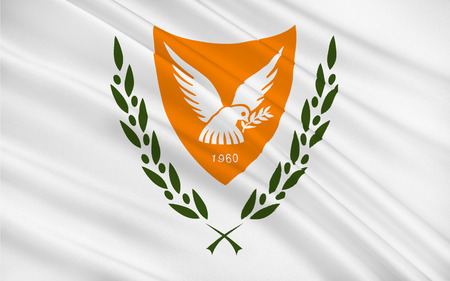 Flag of Cyprus officially the Republic of Cyprus  is island country in the Eastern Mediterranean Sea, off the coasts of Syria and Turkey. 3d illustration Stock Photo